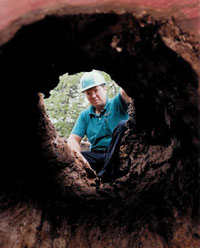 Fred Grimshaw looking through a hollow log